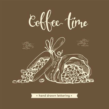 Coffee bag with grains. Coffee time. Hand drawn sketch, vector illustration.