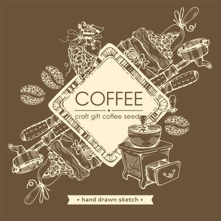 Coffee seeds. Coffee craft, gifts and tools. Hand drawn sketch, vector illustration.