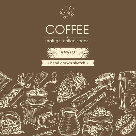 Coffee craft, gift. Coffee seeds and tools. Hand drawn sketch. Vector illustration.