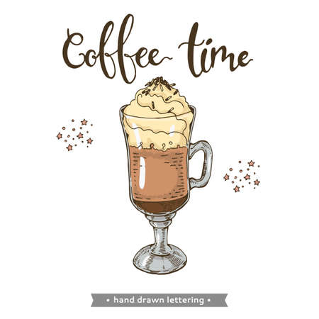 Coffee drink on the white background. Coffee time. Hand drawn lettering, vector illustration. Иллюстрация