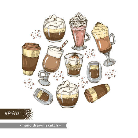 Hot and cold coffee drinks on the white background. Hand drawn sketch, vector illustration. Иллюстрация