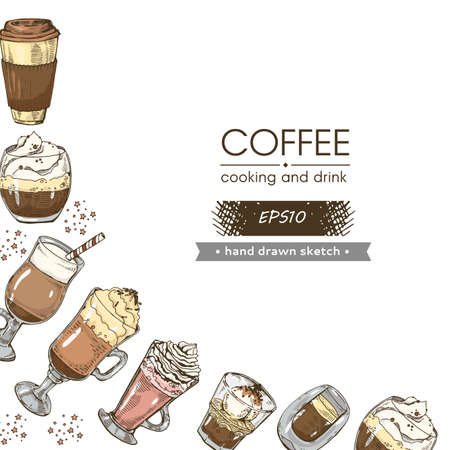 Coffee cooking, hot and cold coffee drinks on the white background. Hand drawn sketch, vector illustration. Иллюстрация