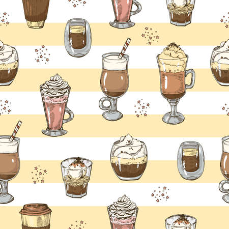 Seamless pattern of coffee drinks on linear background. Hand drawn sketch, vector illustration. Иллюстрация