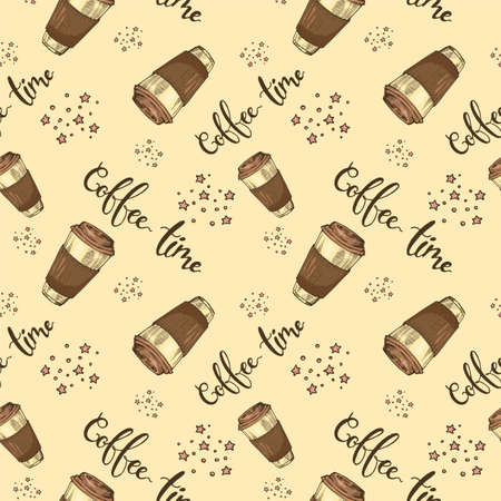 Seamless pattern of paper coffee cups. Coffee time. Hand drawn sketch, vector illustration. Иллюстрация