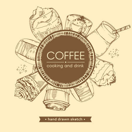 Hand drawn sketch with cooking and different coffee drinks. Vector illustration.