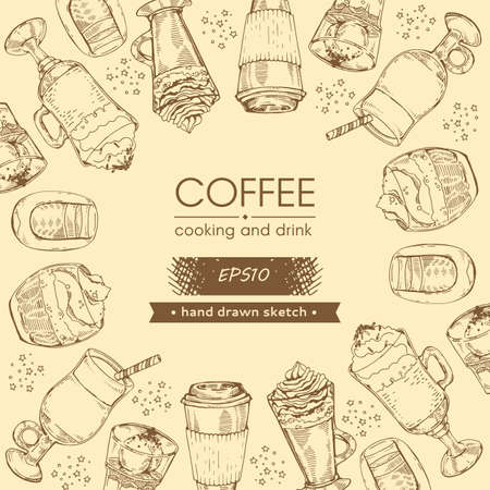 Hand drawn sketch coffee, cooking and drinks. Vector illustration.