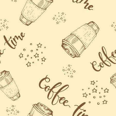 Seamless pattern with paper coffee cups. Coffee time. Hand drawn sketch, vector illustration. Иллюстрация