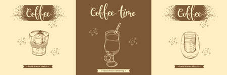 Hand drawn sketches of coffee drinks and desserts. Vector illustration. Иллюстрация