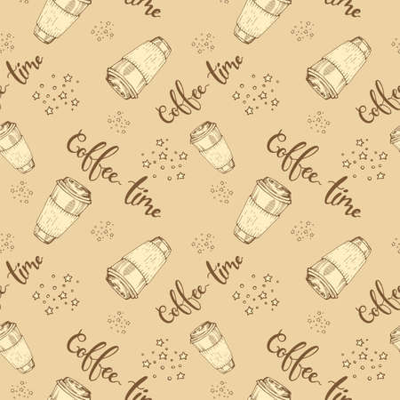 Seamless pattern paper coffee cups. Vector illustration.