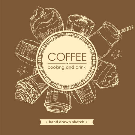 Hand drawn sketch, cooking and cofee drinks. Vector illustration.