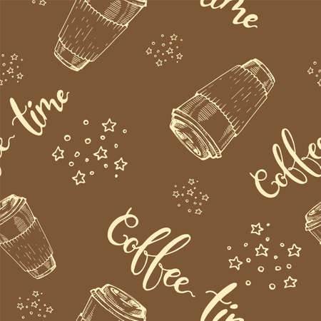 Seamless pattern paper coffee cups. Coffee time. Vector illustration. Иллюстрация