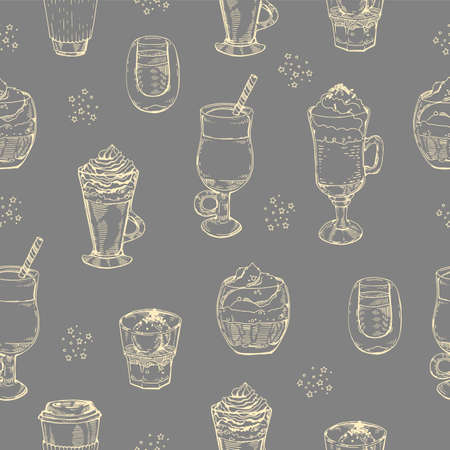 Seamless pattern, desserts and coffee drinks. Vector illustration. Иллюстрация