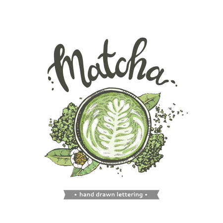 Hand-drawn lettering coffee matcha with picture, vector illustration.