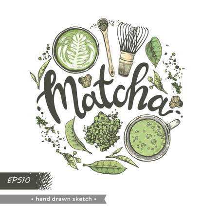 Hand-drawn sketch different matcha tools and drinks, vector illustration. Иллюстрация