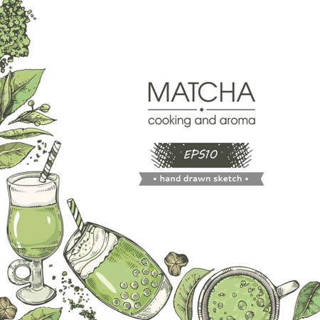 Hand-drawn sketch matcha cooking and cocktails, vector illustration. Иллюстрация