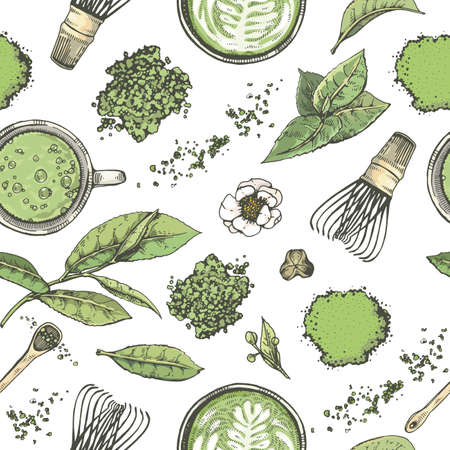 Hand-drawn seamless pattern matcha tools drinks and leaves, vector illustration.