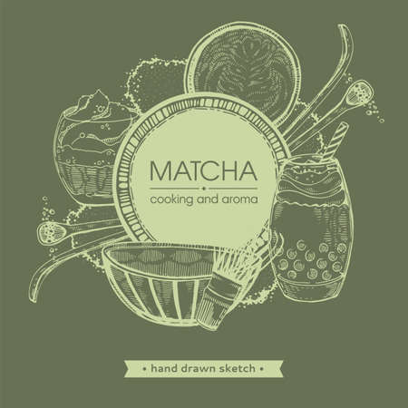 Hand-drawn sketch different matcha drinks and cookings, vector illustration.