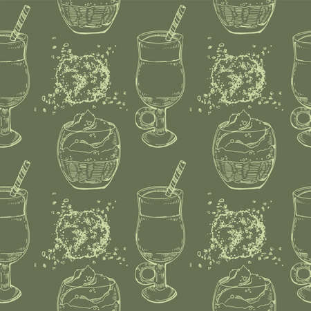 Hand-drawn seamless pattern matcha cocktails and desserts, vector illustration.