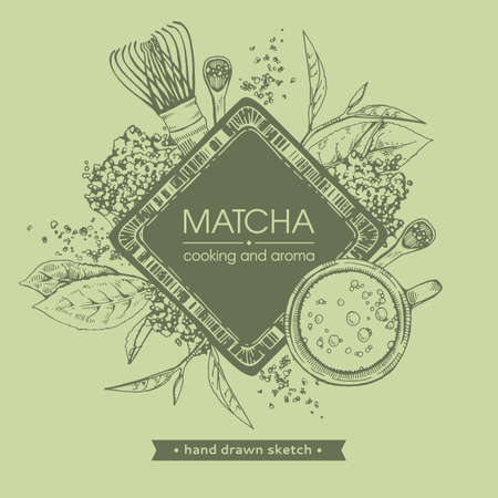 Hand-drawn sketch different matcha tools and cooking, vector illustration.