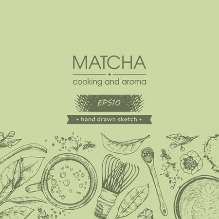 Detailed hand-drawn sketch matcha cooking and aroma, vector illustration. Иллюстрация