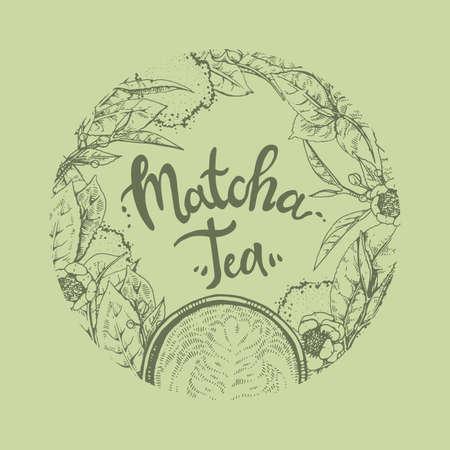 Matcha tea and leaves round hand-drawn emblem, vector illustration.