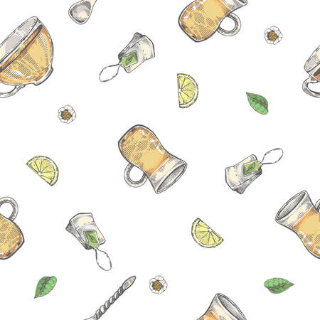 Detailed hand-drawn seamless pattern tea leaves and dishes, vector illustration. Иллюстрация