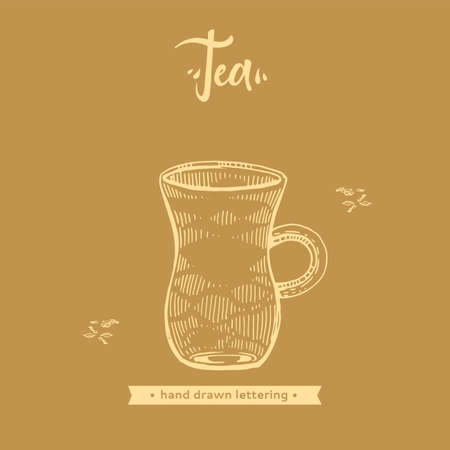 Hand-drawn lettering tea jug on the brown background, vector illustration.