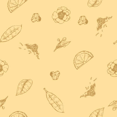 Detailed hand-drawn seamless pattern tea leaves and flowers, vector illustration. Иллюстрация