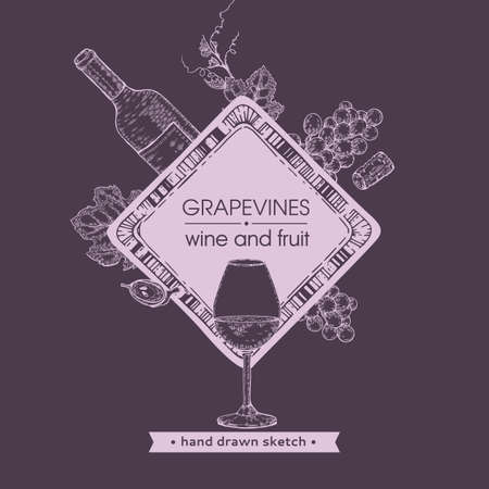 Rhombus-shaped frame with wine glass, bottle and bunches of grapes. Detailed hand-drawn sketch, vector illustration.