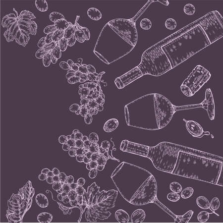 Collection of wine glasses, bottles and bunches of grapes. Detailed hand-drawn sketch, vector illustration. Иллюстрация