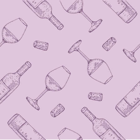 Seamless pattern with wine glasses and bottles. Detailed hand-drawn sketches, vector illustration. Иллюстрация