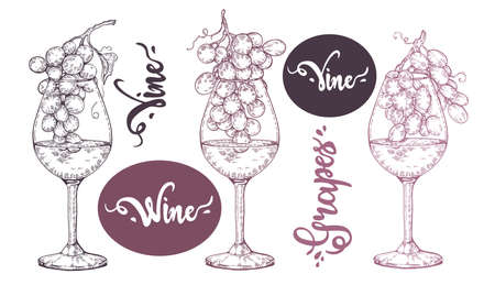 Collection of wine glasses with grapes and lettering vine, grapes. Detailed hand-drawn sketch, vector illustration.