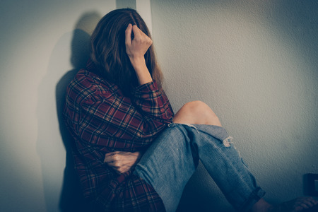 Woman abuse victim. Domestic violence, harassment, depression, drug addiction, human trafficking. PTSD post-traumatic stress