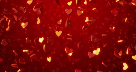 Red hearts 3 d texture. Valentines day background.