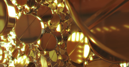 Abstract 3D graphics Background with golden pills.