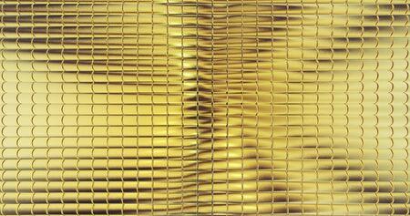 Golden foil tiles texture background. Digital 3d surface. Stok Fotoğraf