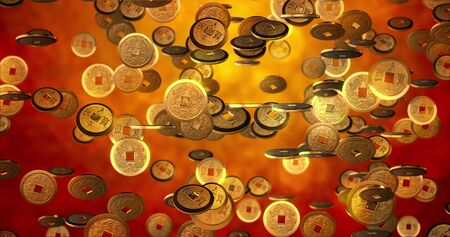 Chinese new year background, Golden coins 3d texture.