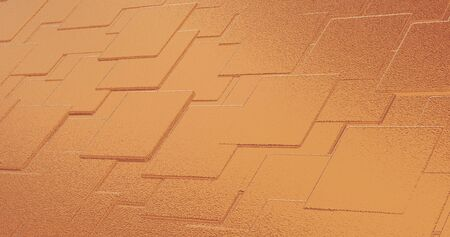 Abstract geometric rose golden background foil tiles texture seamless loop background. Digital 3d surface.
