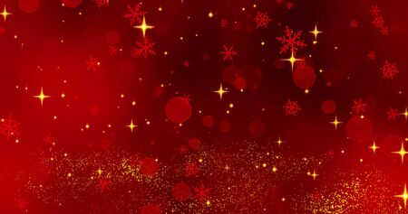 Golden confetti red snowflakes and bokeh lights in ray of light on the red Merry Christmas background. Magical Happy new year texture. 3D rendering