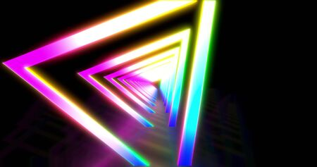 Glowing neon color triangle tunnel. Laser show background. ultraviolet blue purple color spectrum . Virtual reality design 3d render.