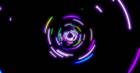 Glowing neon lines tunnel. Blue red pink and violet colorful lighting. Fluorescent ultraviolet lights in the space. Seamless 3D rendering background. Virtual reality design 3d render.