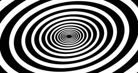 Abstrakter spiralförmiger psihodelischer Tunnelhintergrund. Animation. Zukunftsdesign in der virtuellen Realität. Schwarze und weiße Farben. 3D-Rendering Standard-Bild