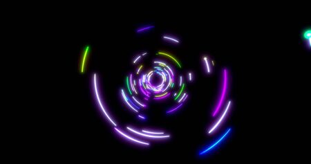 Glowing neon lines tunnel. Blue red pink and violet colorful lighting. Seamless 3D rendering for night club.