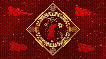 Black Chinese New Year background with gold, rat, 3D rendering. Magical Happy new year animation.