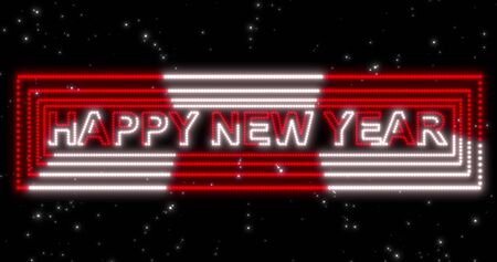 Happy New Year 2020 red and white neon sign background with lights. Virtual reality future design 3d render. Stock fotó