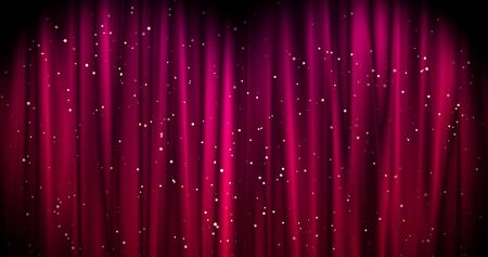 Magical Merry Christmas background with red stage curtain cloth and golden falling stars . Luxury walpaper for the day of St. Valentine, New Year, Unniversary celebation and Wedding ceremony. Backdrop for theater, opera, show, stage scenes.