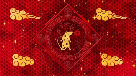 Chinese Gold New Year background with rat, flowers. Is Magical Happy new year texture. 3D rendering. Magical Happy new year animation.