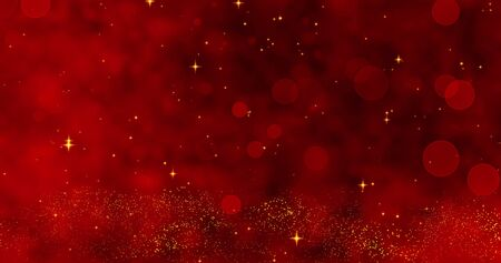 Red confetti, snowflakes and bokeh lights on the red Christmas background.