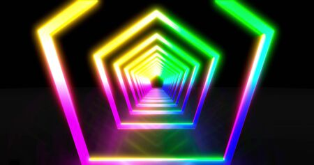 Neon geometric background with LED tunnel. Fluorescent abstract blue, purple spectrum color. Ultraviolet lights animation . Virtual reality future design 3d render.