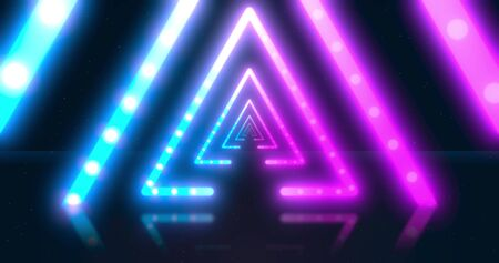Abstract neon flying geometric tunnel with fluorescent ultraviolet light. Different Colors Rainbow. Futuristic corridor with Neon Lights. background. Virtual reality design 3d render.